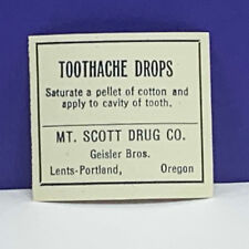 Drug store pharmacy ephemera label advertising Toothache drops Scott Portland ME