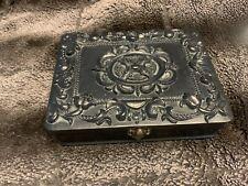 DL&co Black Letter Writing Stationary Box Carved Resin Raised