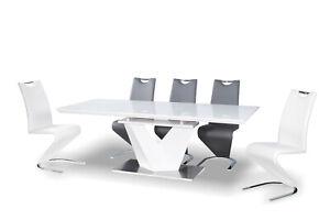 """ALARS III"" White High Gloss & White Glass Top Extending Dining Table 160-220cm"