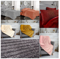 TEDDY CHUNKY RIB With Glitter Duvet Quilt Cover 100% Polyester Matching Throw