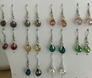 Glass Crystal Earrings on Silver Plated Bails with 925 Silver Ear Hooks