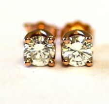 GIA certified .85ct SI1 J New round diamond 14k rose gold stud earrings 1.5g