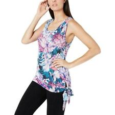 Ideology Womens Hibiscus Floral Tank Top Gray Side Tie New Size M