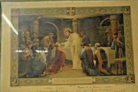 ANCIEN CADRE PHOTO RELIGION RELIGIEUX LITHOGRAPHIE GRAVURE COMMUNION