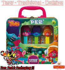 More details for trolls pez dispenser gift tin with poppy, branch & dj sukicharacters - 51g