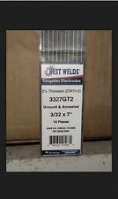 """1 Pack/10pc TIG Welding Tungsten Rod Electrodes 2%Thoriated 3/32"""" x 7""""(Red,WT20)"""