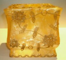 "Vtg Elegant Gold Acrylic & Metal Tissue Box Holder Popular Bath  6""sq. x 5 1/2"""