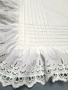 2 Vtg European Pillow Size Sham WHITE Eyelet Tiny Pin Tucks MOP Button Closure