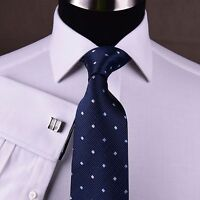 Men's White Formal Business Dress Shirt Floral French Double Cuffs Spread Collar