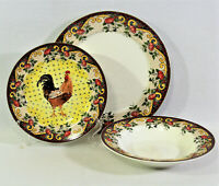 AMERICAN ATELIER Petite Provence Rooster Pattern 3-pcs Dinner Salad Plate Bowl