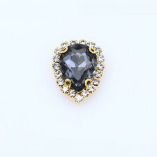 12p 18x13mm teardrop sew on Crystal glass Button Diamante rhinestones gold plate