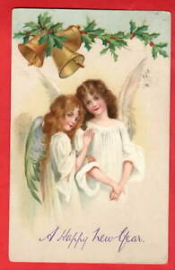 ART NOUVEAU ANGELS AND BELLS. NEW YEAR pu MILTON ABBOT 1906