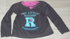 "612 - T-shirt ML 6 ans OKAIDI gris effet superposé ""MY LITTLE RACCOON"""