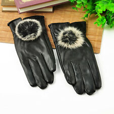 Women Girls Winter Soft Leather Mitten Gloves Warm Driving Gift black
