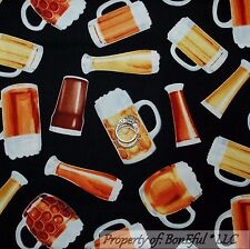 BonEful FABRIC FQ Cotton Quilt Black Gold Brown Beer Mug Glass BAR Cup Man Cave