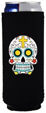 Sugar Skull Funny 12 oz. Slim Can Coolie, Choice of Color, Ultra