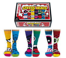 UNITED ODDSOCKS STRESS HEADS SIX FUNKY FACED ODD SOCKS FOR MEN SIZE 6 /11 GIFT
