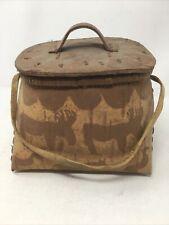 PRIMITIVE Vintage Fly Fishing Trout Creel Basket Wooden Bark CARVED BARK