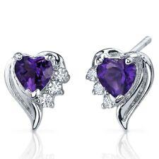 1.00 Cts Amethyst Heart Shape CZ Earrings in Sterling Silver