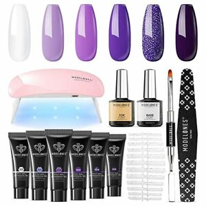 All in One Manicure Set Poly Extension Gel Nail Kit Purple 6W Nail Lamp Tools +