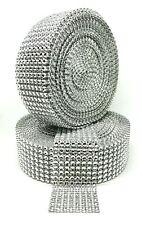 30 FT 8 Row Silver Diamond Rhinestone Mesh Ribbon Bling Wrap Roll Favor Decor
