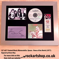 QUEEN News Of The World SIGNED BY BRIAN MAY Autographed Framed Freddie Mercury