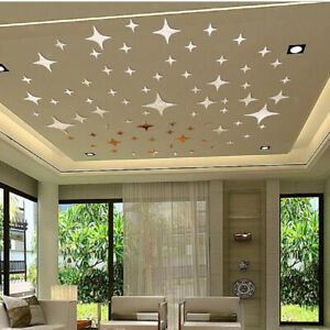30x 3D Bling Star Mirror Surface Wall Stickers DIY Home Bedroom Decor Silver