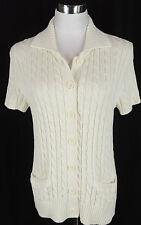 L.L. Bean L 100% Cotton Cream Cable Knit Button Down Cardigan Sweater