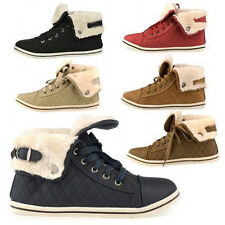 WOMENS GIRLS LADIES LACE UP COLLAR FUR LINED WINTER WARM ANKLE BOOT SIZE 3 - 8
