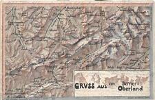 GRUSS AUS DEM BERNER OBERLAND SWITZERLAND MAP ADELBODEN STAMP ERROR POSTCARD '02
