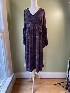 MODCLOTH Plus Size 18W Midi Dress Black Purple Paisley 3/4 Length Puff Sleeve