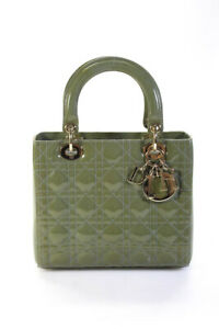 Christian Dior Womens Cannage Lady Dior Patent Leather Medium Handbag Green