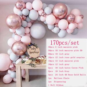 170Pcs Macaron Rosa Luftballons + Ballonbogen Kit Set Hochzeit Party Girlande DE