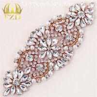 Rose Gold Crystal Rhinestone Applique Iron on Wedding Bridal Belt Sash Dress