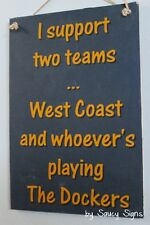 West Coast versus Freo Fremantle Footy Sign Aussie Rules Bar Shed Wooden Eagles