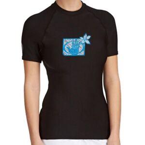 Womens Body Glove Basic Short Sleeve Rash Vest Guard Black
