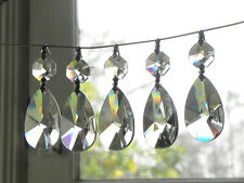 "Lot of 40 Lead Crystal Chandelier Tear Drop Pendants Prisms 1-1/2"" Lamp Parts"