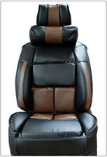 UNIVERSAL LIMOUSINE BLACK/BROWN S.LEATHER FRONT ONE SEAT COVER WITH NECK CUSHION