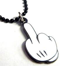 Mickey Mouse Hand MIDDLE FINGER Disney Disneyland Fantasy Pendant Necklace