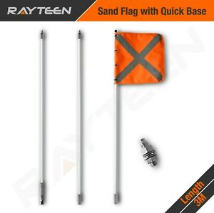 3 x 1m 4WD Recovery Sand Flag Safety Simpson Desert with quick connector base