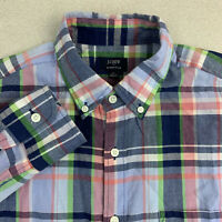J.Crew Button Up Shirt Mens Small Summer Plaid Long Sleeve Multicolor Casual