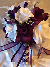 Round Wedding Bridal Bouquet Package Plum Purple Tiger Lily Silk Rose 21pc