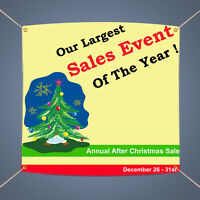 Largest Sales Event Of the Year Christmas Sale Advertising Vinyl Banner 5' X 3'