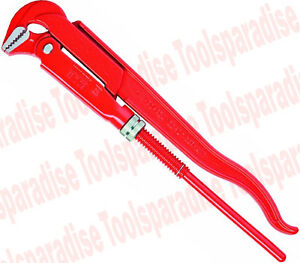 90-Degree Angled Jaw Pipe Clamping Swedish Wrench I-Beam Handle Long Shaft 17in