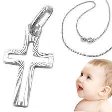 Baby Taufe  Kommunion Kinder Einschulung  Kreuz Anhänger mit Kette Silber 925