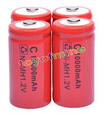 4 x tamaño C ROJO celular recargable 1.2V Ni-MH 10000mAh Batería