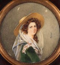 Antique 1700s-1800s Young Beauty & Hat PORTRAIT MINIATURE Painting Signed GUIARD