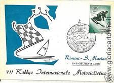 CARTOLINA D'epoca: RALLYE MOTOCICLISMO RIMINI 1956