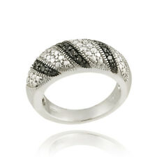 925 Sterling Silver Black Diamond Accent Striped Ring S8