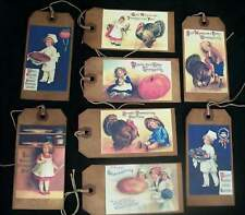 EIGHT LARGE VINTAGE LOOKING THANKSGIVING TAGS
